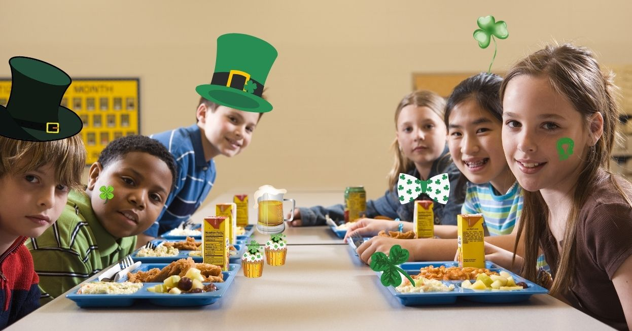 Children at lunch celebrating St Paddy's day